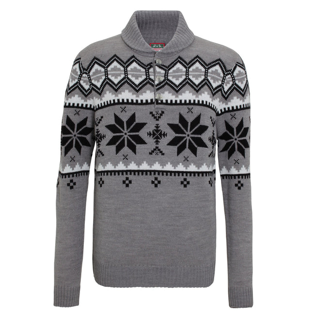 Grey - Front - Christmas Shop Mens Shawl Collar Knitted Fairisle Design Jumper