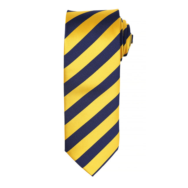 Gold-Navy - Front - Premier Mens Club Stripe Pattern Formal Business Tie