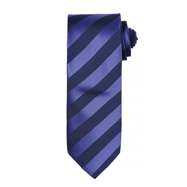 Navy-Navy - Front - Premier Mens Club Stripe Pattern Formal Business Tie