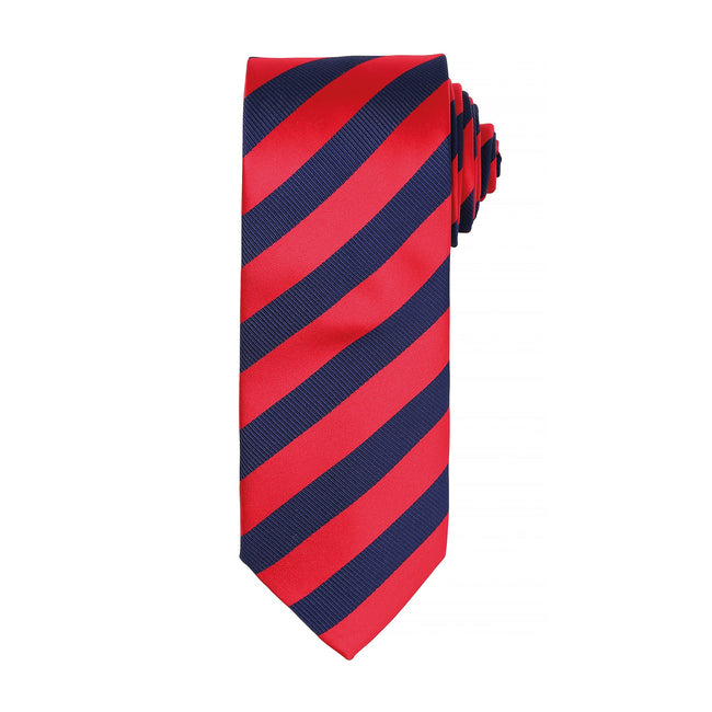 Red-Navy - Front - Premier Mens Club Stripe Pattern Formal Business Tie