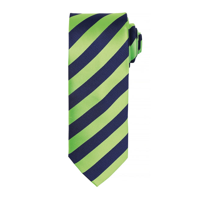 Lime-Navy - Front - Premier Mens Club Stripe Pattern Formal Business Tie