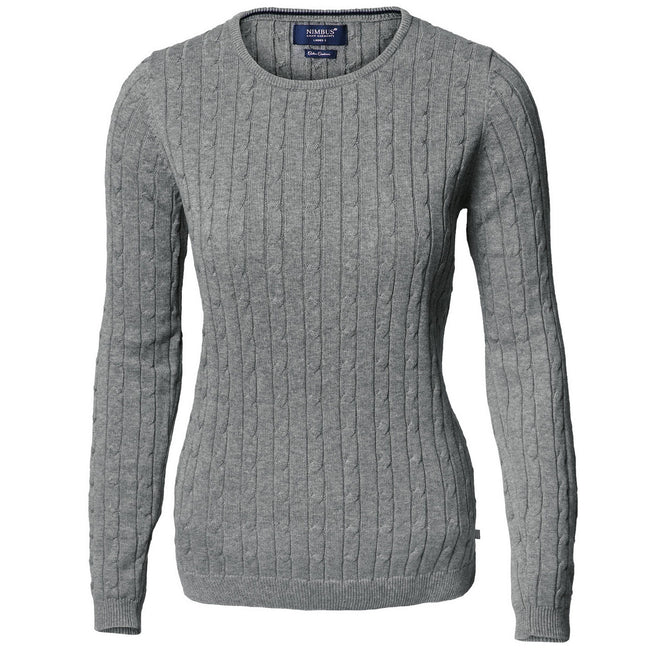 Dark Grey Melange - Front - Nimbus Womens-Ladies Winston Cable Knit Cotton Jumper