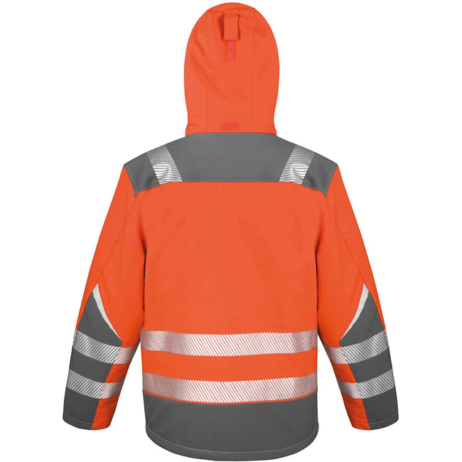 Orange - Back - Result Safeguard Mens Dynamic Hi-Visibility Softshell Work Coat