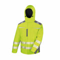 Yellow - Front - Result Safeguard Mens Dynamic Hi-Visibility Softshell Work Coat