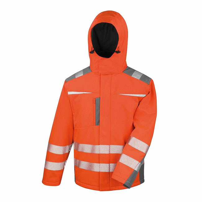 Orange - Front - Result Safeguard Mens Dynamic Hi-Visibility Softshell Work Coat