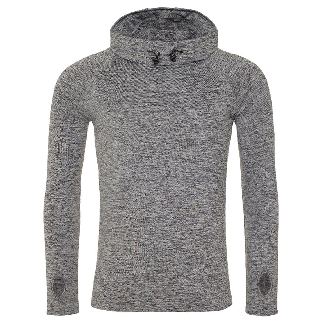 Grey Melange - Front - AWDis Just Cool Mens Cowl Neck Long Sleeve Baselayer Top
