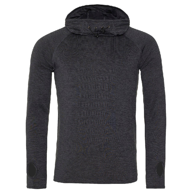 Black Slate Melange - Front - AWDis Just Cool Mens Cowl Neck Long Sleeve Baselayer Top