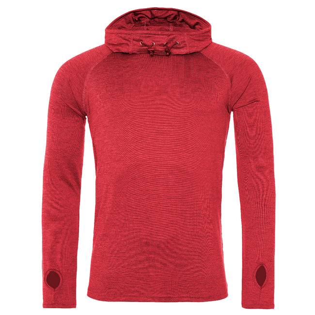 Red Melange - Front - AWDis Just Cool Mens Cowl Neck Long Sleeve Baselayer Top