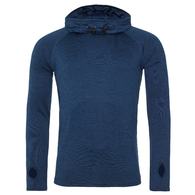 Navy Melange - Front - AWDis Just Cool Mens Cowl Neck Long Sleeve Baselayer Top