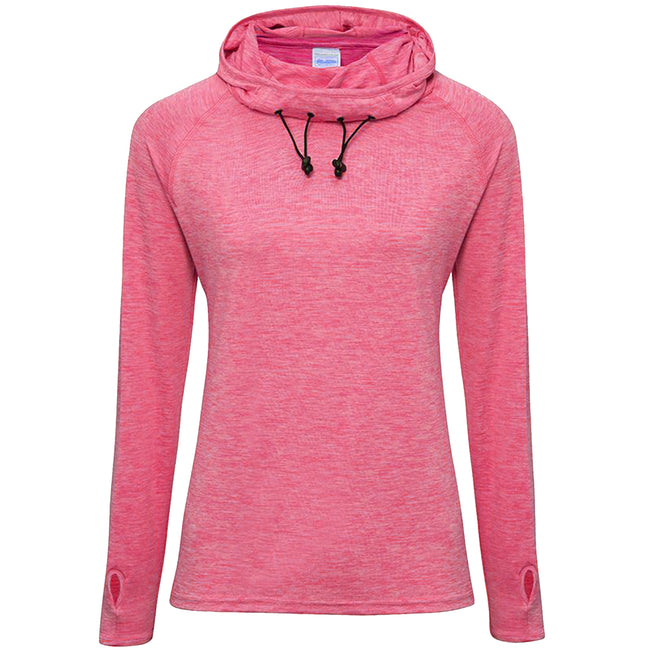 Electric Pink Melange - Front - AWDis Just Cool Womens-Ladies Girlie Cowl Neck Baselayer Top