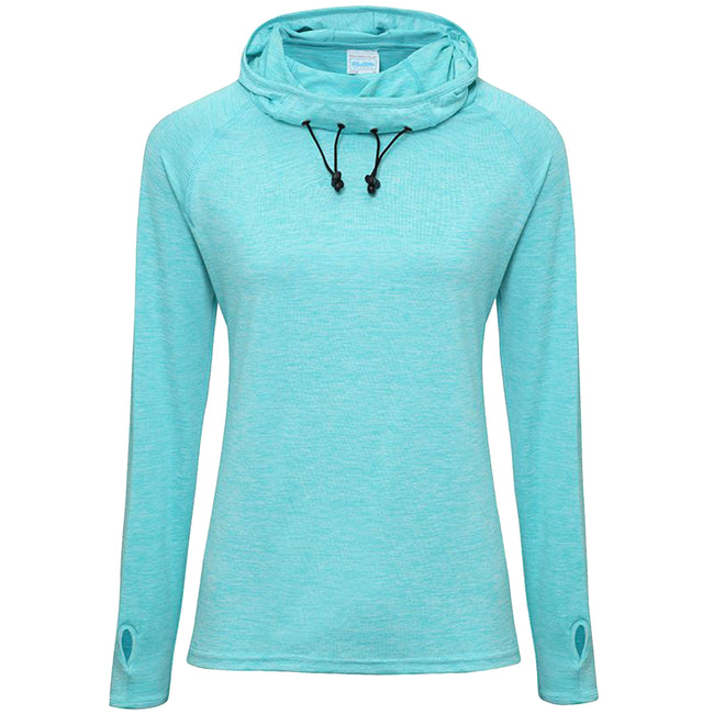 Ocean Blue Melange - Front - AWDis Just Cool Womens-Ladies Girlie Cowl Neck Baselayer Top
