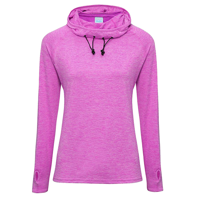 Raspberry Melange - Front - AWDis Just Cool Womens-Ladies Girlie Cowl Neck Baselayer Top
