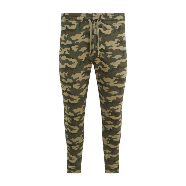 Green Camo - Front - AWDis Hoods Mens Tapered Track Pants