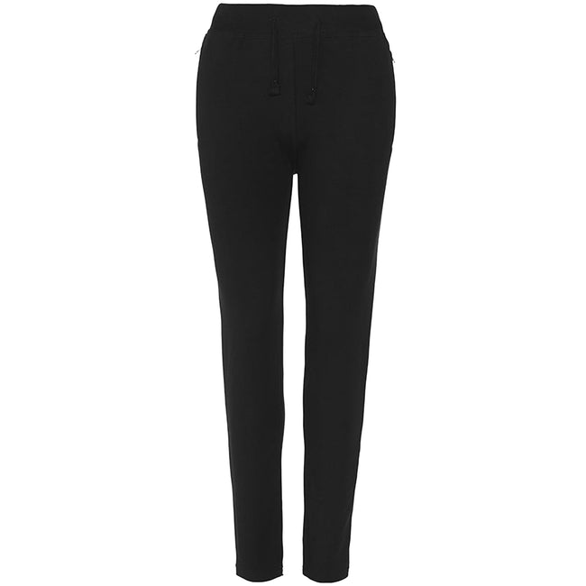 Jet Black - Front - AWDis Hoods Womens-Ladies Girlie Tapered Track Pants