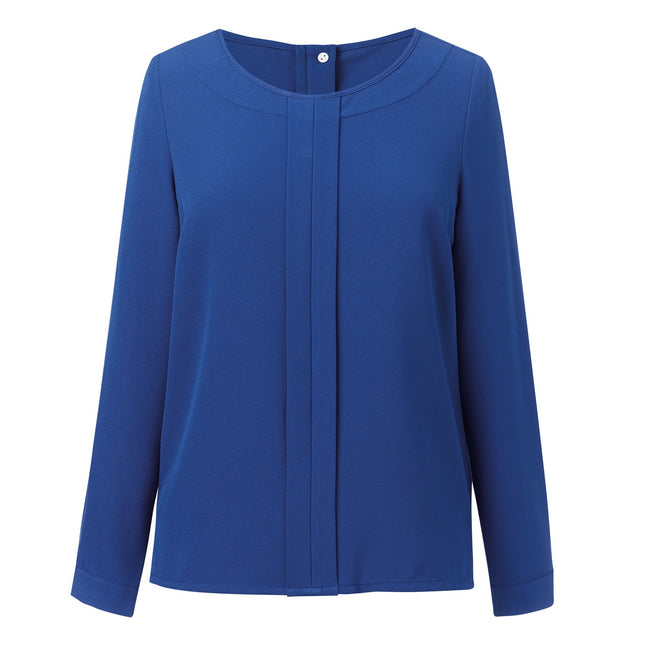 Royal Blue - Front - Brook Taverner Womens-Ladies Roma Crepe De Chine Long Sleeved Blouse