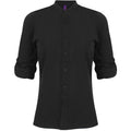 Black - Pack Shot - Henbury Womens-Ladies Mandarin Shirt With Roll-Tab Sleeves