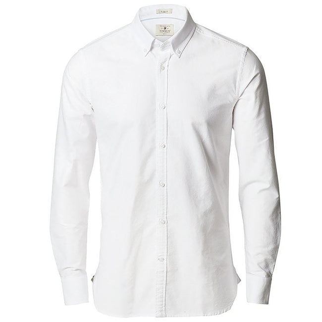 White - Front - Nimbus Mens Rochester Slim Fit Long Sleeve Oxford Shirt