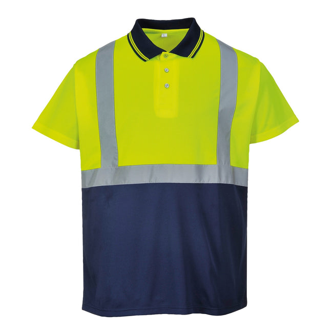 Yellow- Navy - Front - Portwest Mens Short Sleeve Two-Tone Hi-Vis Polo Shirt