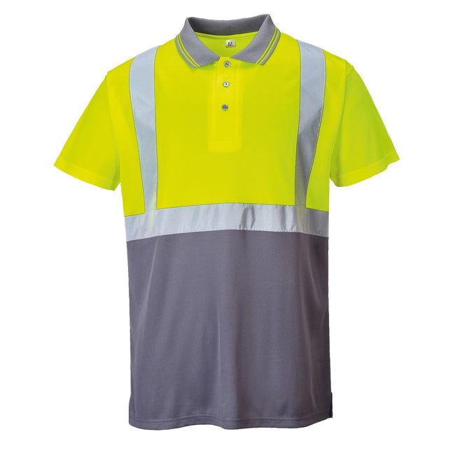 Yellow- Grey - Front - Portwest Mens Short Sleeve Two-Tone Hi-Vis Polo Shirt