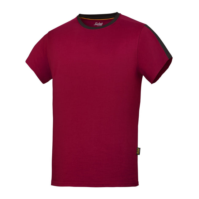 Chilli Red-Black - Front - Snickers Mens AllroundWork Short Sleeve T-Shirt