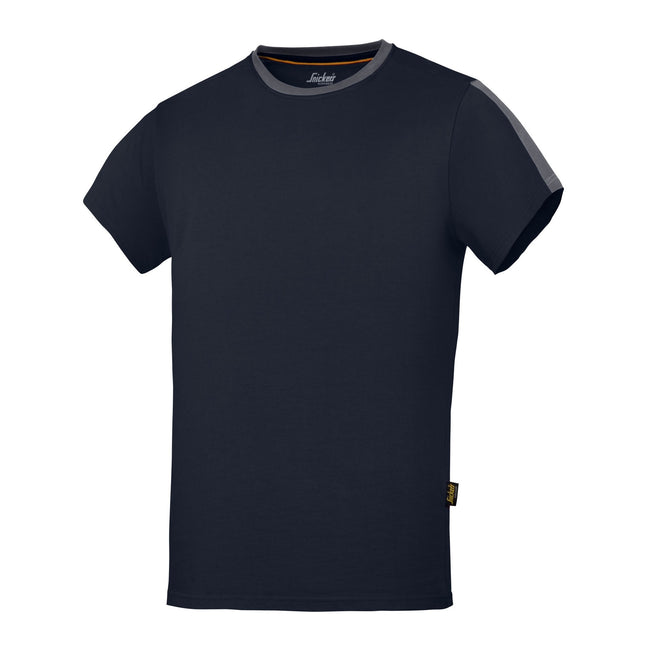 Navy-Steel Grey - Front - Snickers Mens AllroundWork Short Sleeve T-Shirt