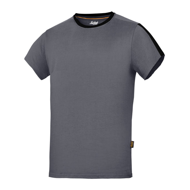 Steel Grey-Black - Front - Snickers Mens AllroundWork Short Sleeve T-Shirt