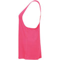 Neon Pink - Back - Skinni Fit Womens-Ladies Fashion Workout Sleeveless Vest