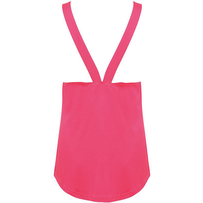 Neon Pink - Side - Skinni Fit Womens-Ladies Fashion Workout Sleeveless Vest