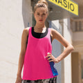 Neon Pink - Lifestyle - Skinni Fit Womens-Ladies Fashion Workout Sleeveless Vest