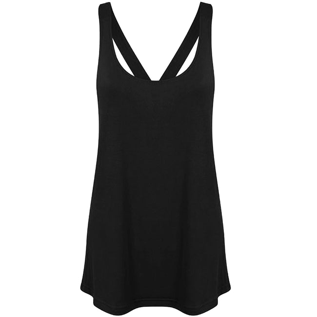 Black - Front - Skinni Fit Womens-Ladies Fashion Workout Sleeveless Vest