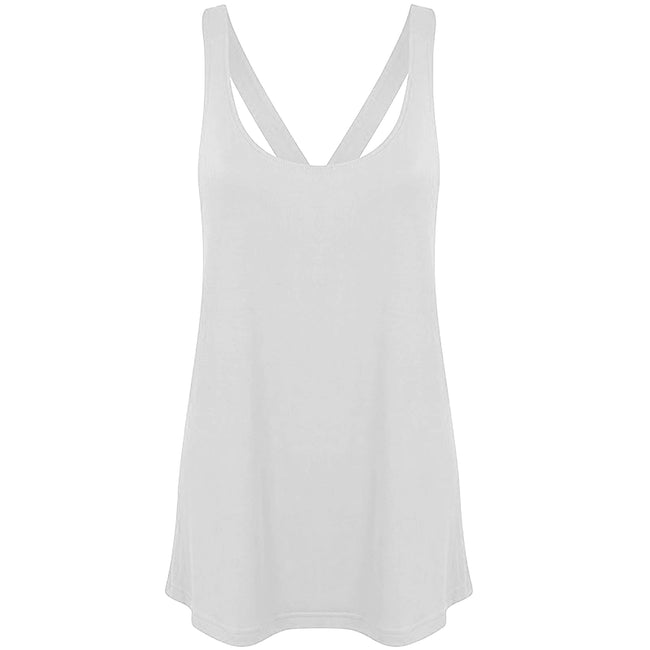 White - Back - Skinni Fit Womens-Ladies Fashion Workout Sleeveless Vest