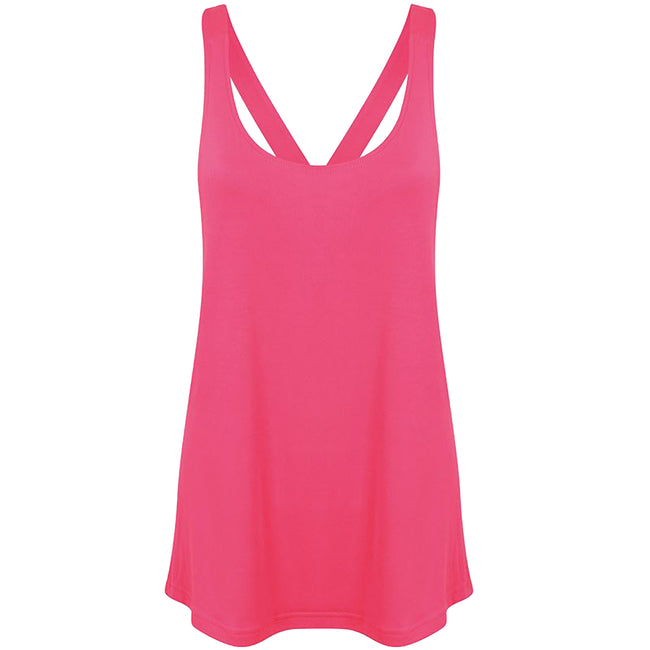 Neon Pink - Front - Skinni Fit Womens-Ladies Fashion Workout Sleeveless Vest
