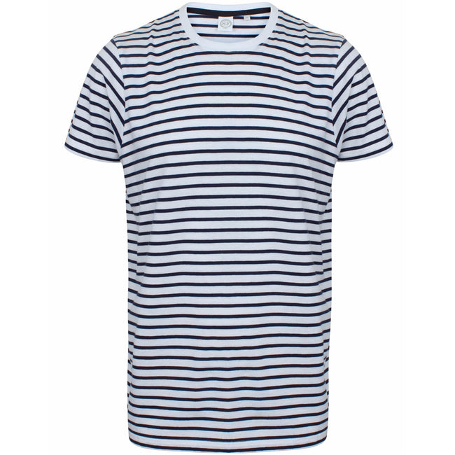 White-Oxford Navy - Front - Skinni Fit Unisex Striped Short Sleeve T-Shirt