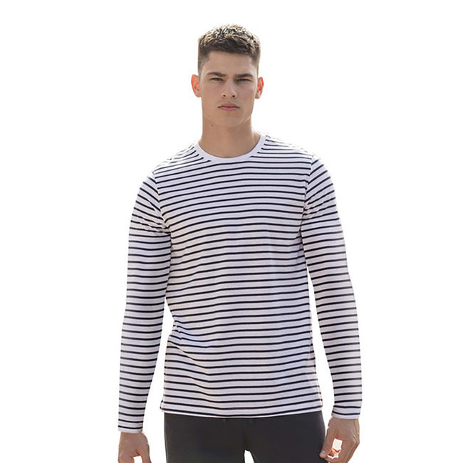 White-Oxford Navy - Back - Skinni Fit Unisex Striped Short Sleeve T-Shirt