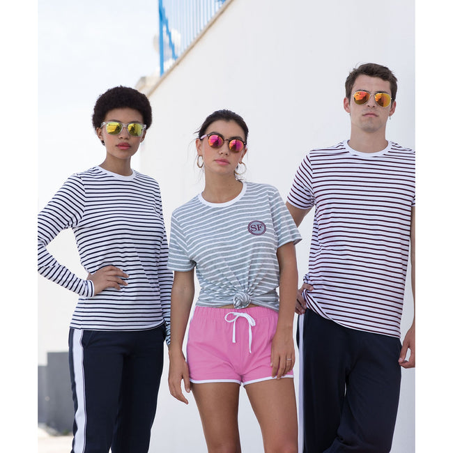 White- Burgundy - Front - Skinni Fit Unisex Striped Short Sleeve T-Shirt