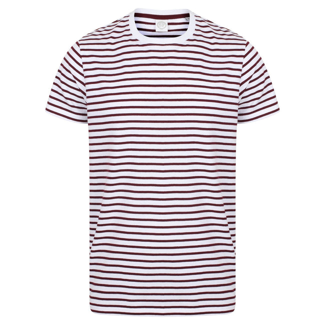 White-Burgundy - Front - Skinni Fit Unisex Striped Short Sleeve T-Shirt
