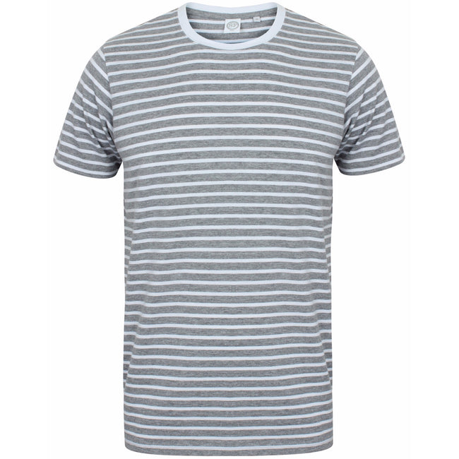 Heather Grey-White - Front - Skinni Fit Unisex Striped Short Sleeve T-Shirt