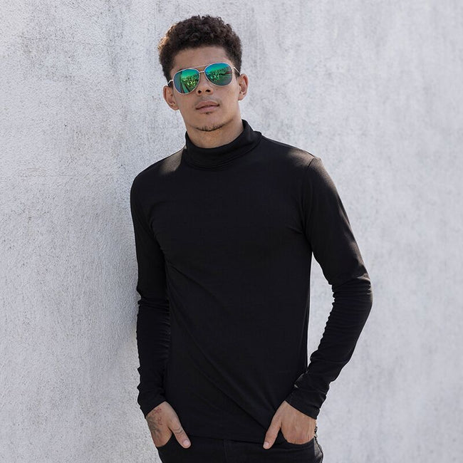 Black - Lifestyle - Skinni Fit Mens Feel Good Roll Neck Long Sleeve Top