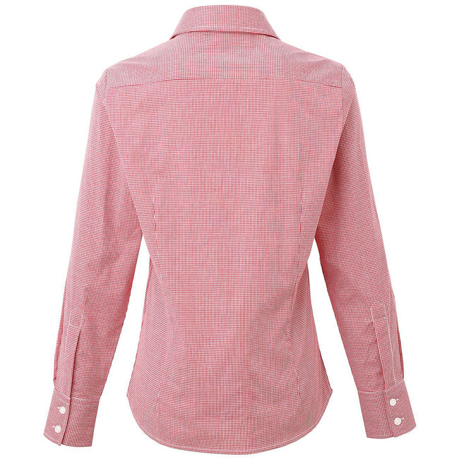 Red-White - Side - Premier Womens-Ladies Microcheck Long Sleeve Shirt