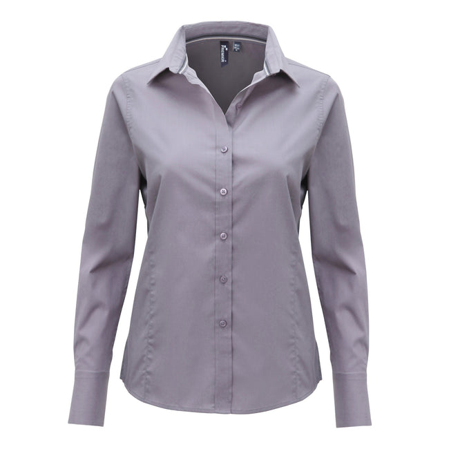 Steel - Front - Premier Womens-Ladies Long Sleeve Fitted Friday Shirt