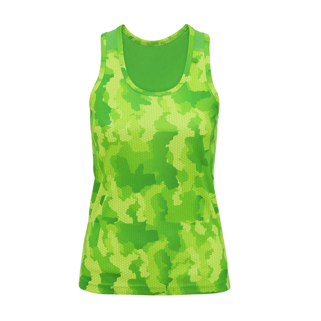 Camo Orange - Back - Tri Dri Womens-Ladies Hexoflage Performance Sleeveless Vest