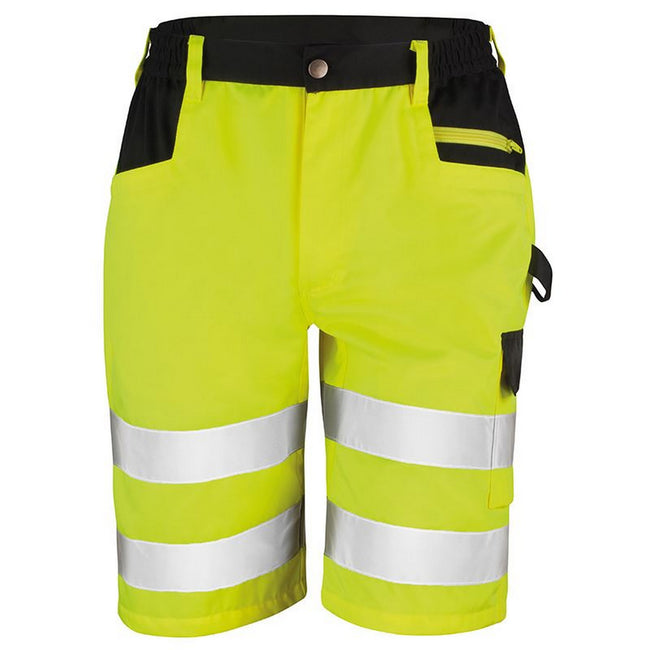 Yellow - Front - Result Core Mens Reflective Safety Cargo Shorts