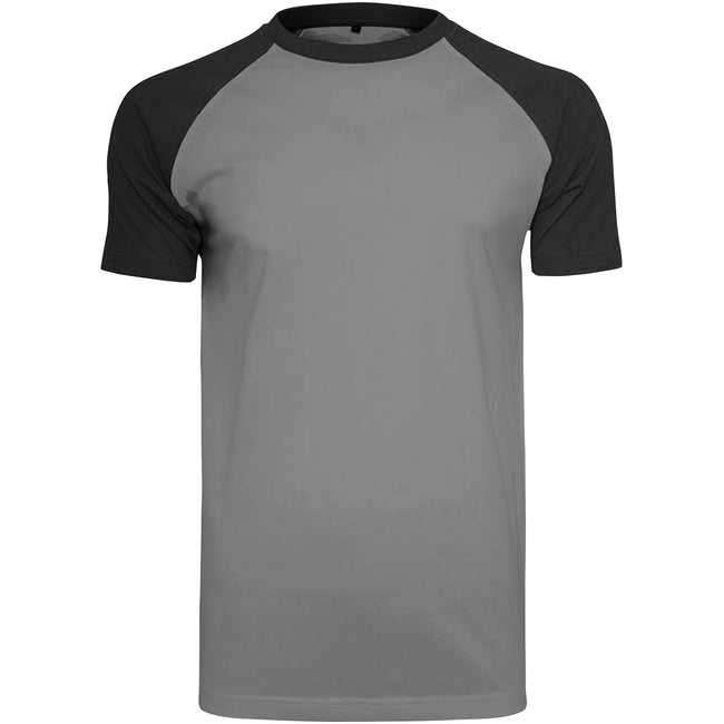 Charcoal-Black - Front - Build Your Brand Mens Raglan Contrast Short Sleeve T-Shirt