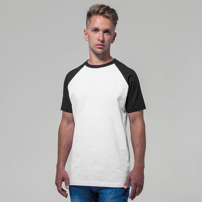 White-Black - Lifestyle - Build Your Brand Mens Raglan Contrast Short Sleeve T-Shirt