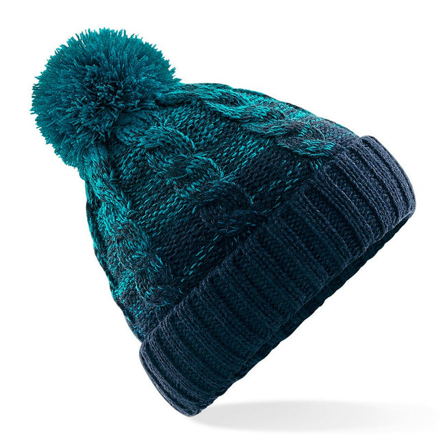 Teal-French Navy - Front - Beechfield Unisex Ombre Styled Beanie