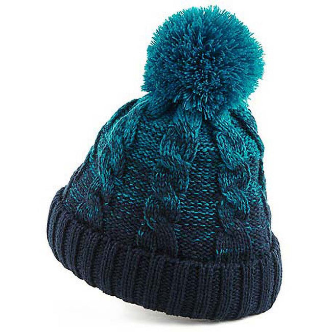 Teal-French Navy - Side - Beechfield Unisex Ombre Styled Beanie