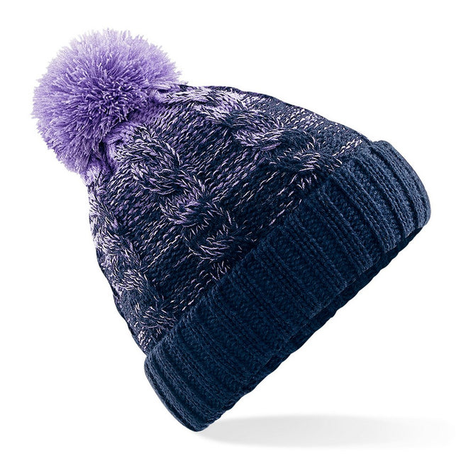 Lavender-French Navy - Front - Beechfield Unisex Ombre Styled Beanie