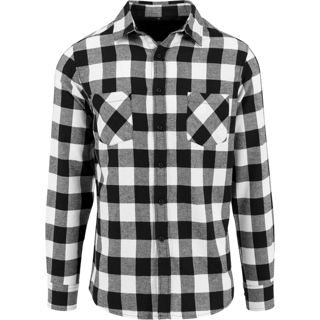 Black - White - Front - Build Your Brand Mens Checked Flannel Shirt