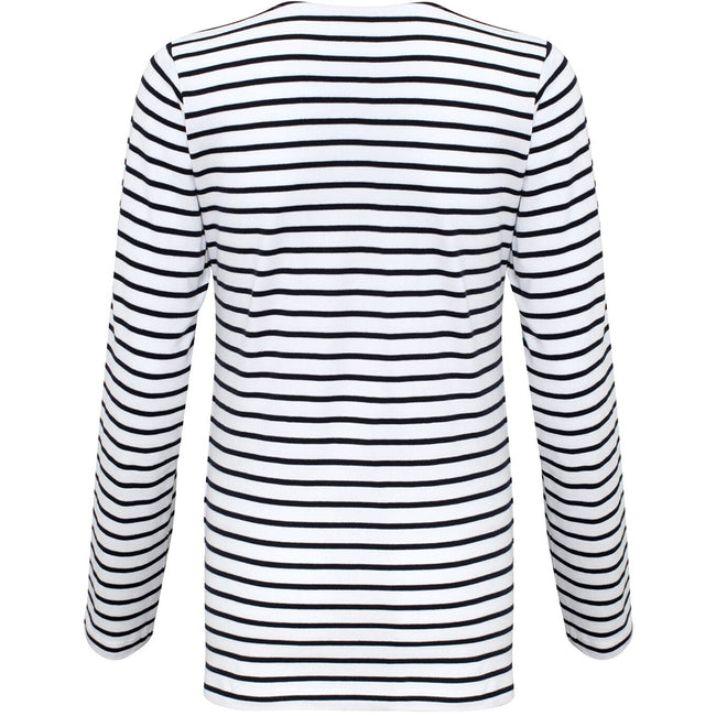 White-Navy - Back - Asquith & Fox Womens-Ladies Mariniere Coastal Long Sleeve T-Shirt