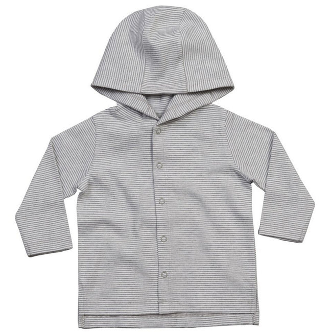 White-Heather Grey Melange - Front - Babybugz Baby Stripy Hooded T-Shirt